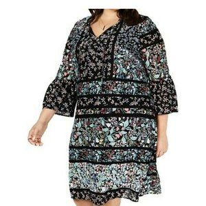 Style & Co 3X Dress Black Floral Bell Sleeve NEW